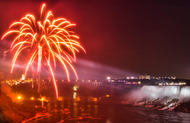 New Year's celebration at Niagra Falls