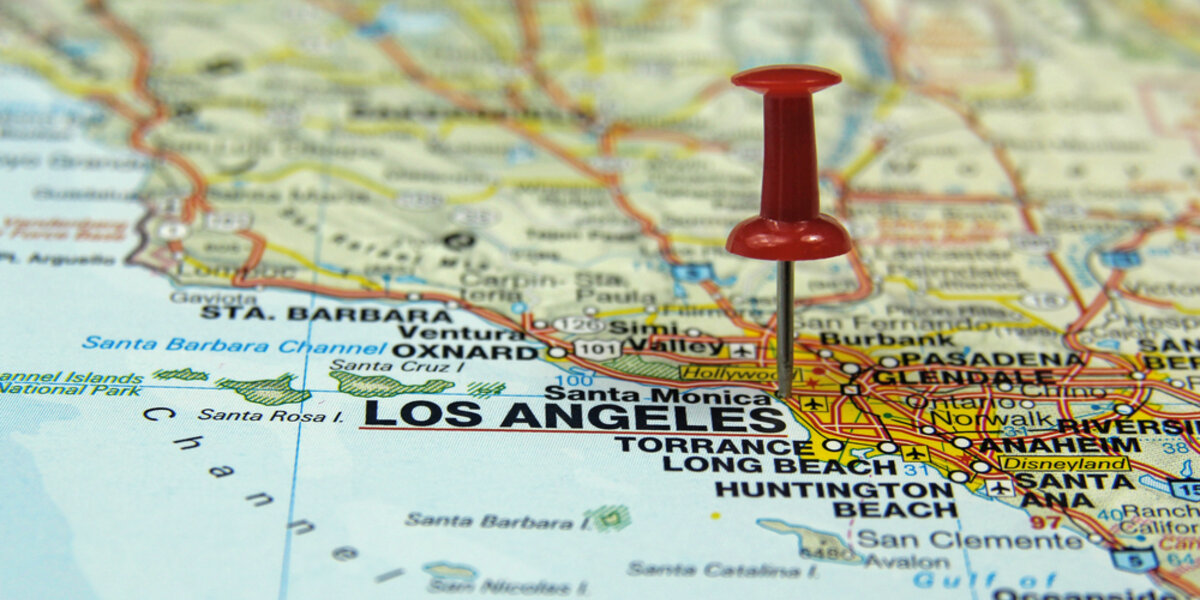 Close-up of Map of the City of Los Angles