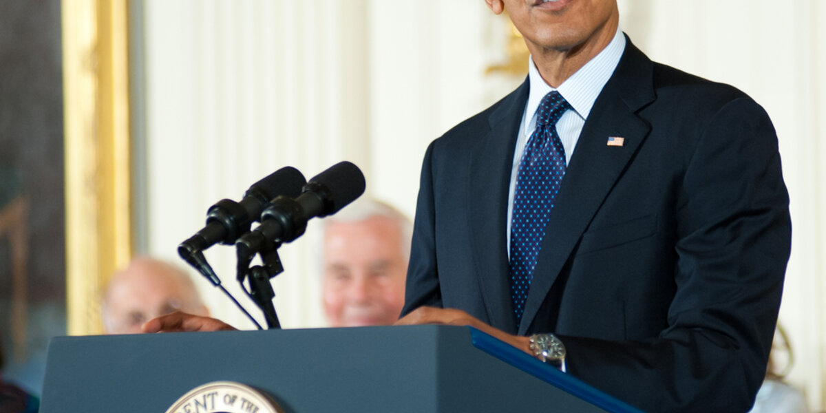President Barack Obama speaking at a White House function.