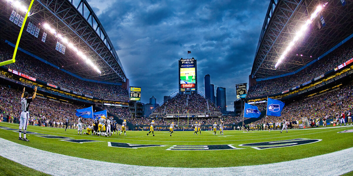 Seattle Seahawks playing the Green Bay Packers at Century Link Field.