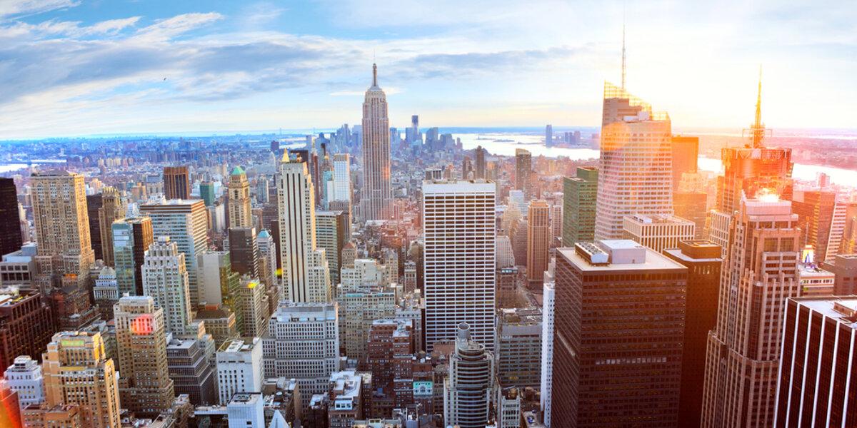 A city skyline of buildings