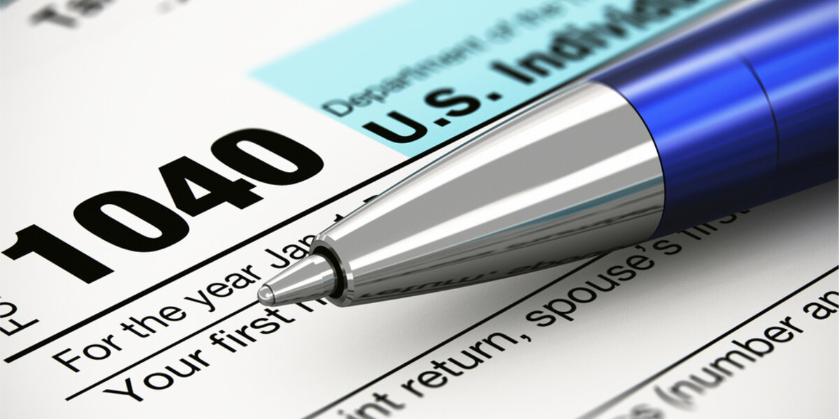 Close-up of tax form