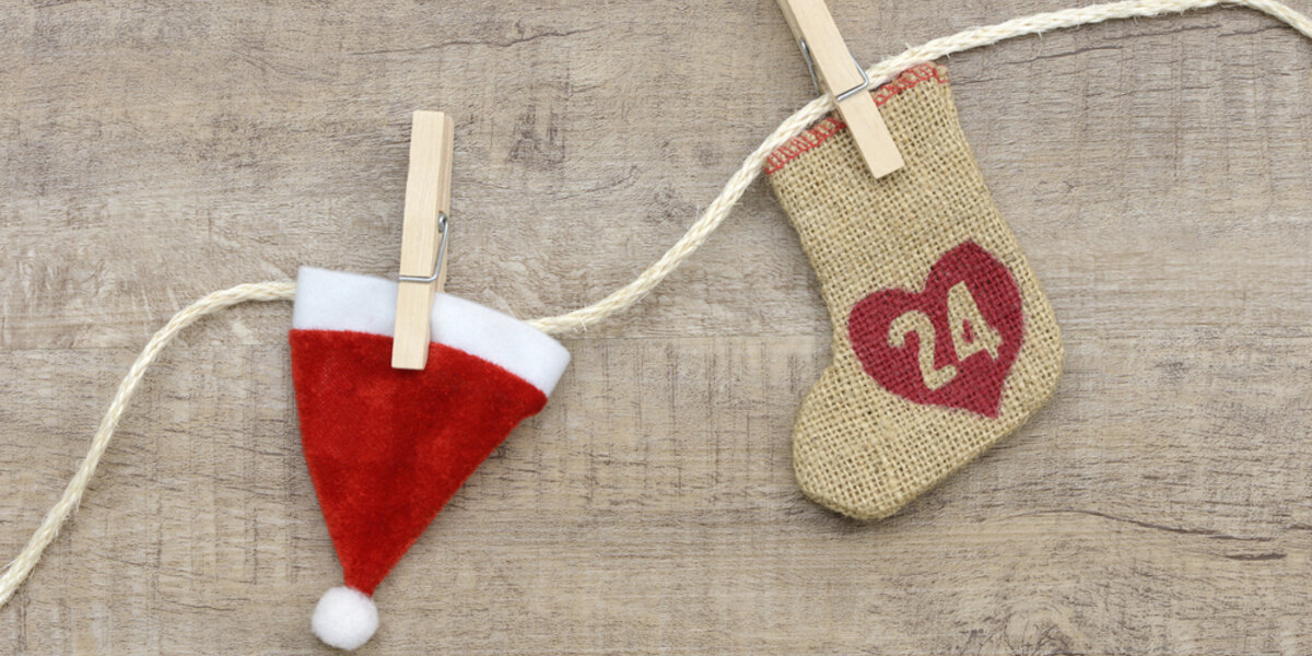 Santa hat and stocking decoration, counting down to Christmas